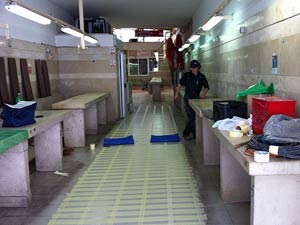 Wet and slippery floors in fish market