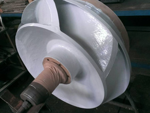 Pump impeller coated for erosion and corrosion protection